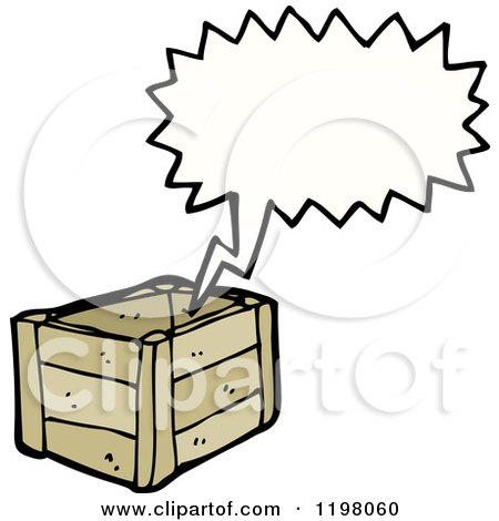 Cartoon of a Wooden Crate Speaking - Royalty Free Vector Illustration by lineartestpilot