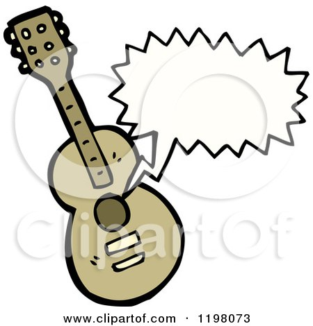 Cartoon of a Guitar Playing - Royalty Free Vector Illustration by lineartestpilot