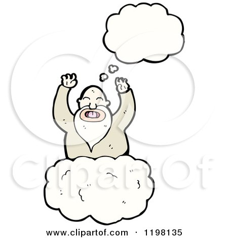 Cartoon of a God in Heaven Thinking - Royalty Free Vector Illustration by lineartestpilot