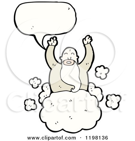 Cartoon of a God in Heaven Speaking - Royalty Free Vector Illustration by lineartestpilot