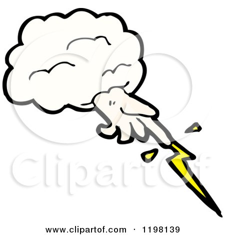 Cartoon of the Hand of God and Lightning - Royalty Free Vector Illustration by lineartestpilot