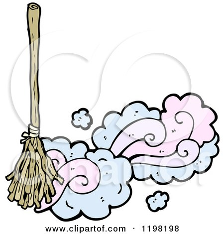 Clipart Of A Magic Broom Royalty Free Vector