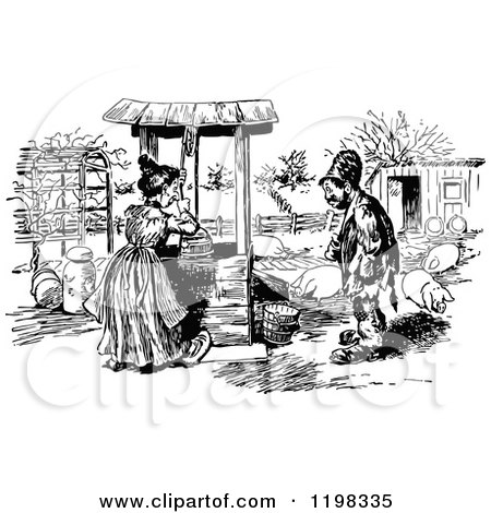 Clipart of a Woodcut Chinese Peasant Fetching Water, in ...
