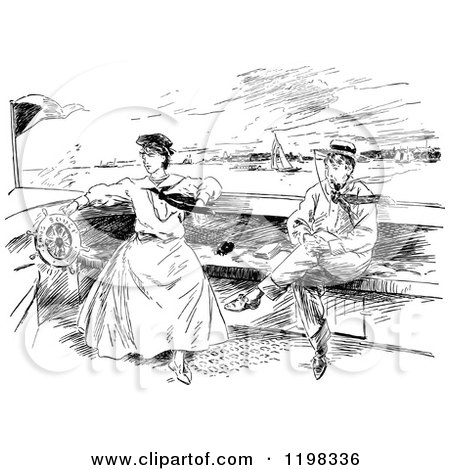 Clipart of a Black and White Vintage Boating Couple - Royalty Free Vector Illustration by Prawny Vintage