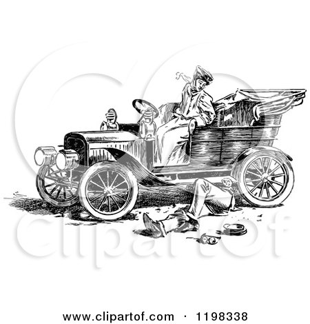 Clipart of a Black and White Vintage Man Under a Womans Car - Royalty Free Vector Illustration by Prawny Vintage