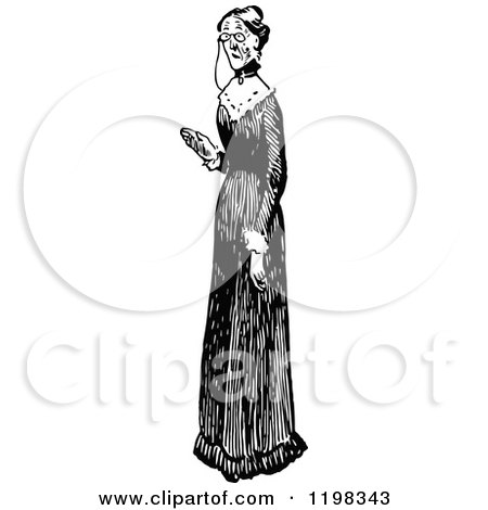 Clipart of a Black and White Vintage Old Lady in a Long Dress - Royalty Free Vector Illustration by Prawny Vintage