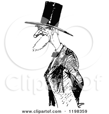 Clipart of a Black and White Vintage Old Man with a Top Hat - Royalty Free Vector Illustration by Prawny Vintage