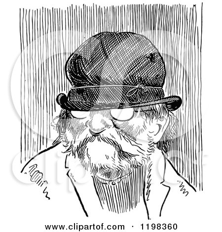 Clipart of a Black and White Vintage Old Man Wearing a Hat - Royalty Free Vector Illustration by Prawny Vintage