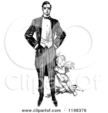 Clipart of a Black and White Vintage Man and Cupid - Royalty Free Vector Illustration by Prawny Vintage