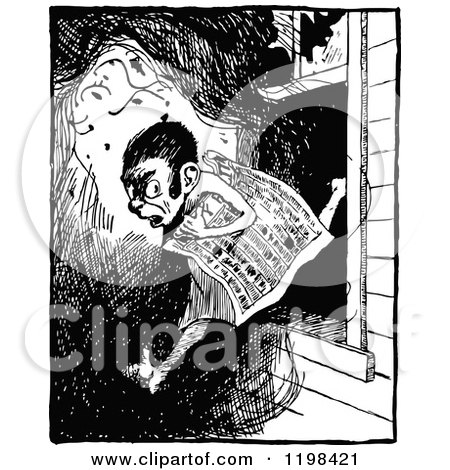 Clipart of a Vintage Black and White Person Clipping a Newspaper ...