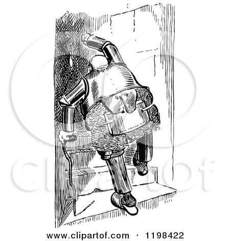 Clipart of a Black and White Vintage Chubby Old Knight Climbing Stairs with a Cane - Royalty Free Vector Illustration by Prawny Vintage