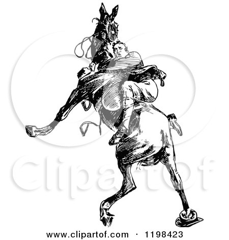 Clipart of a Black and White Vintage Man Riding a Wild Horse - Royalty Free Vector Illustration by Prawny Vintage