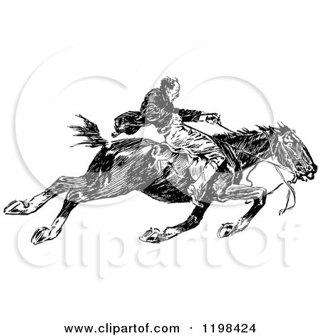 Clipart of a Black and White Vintage Man Riding a Fast Horse - Royalty Free Vector Illustration by Prawny Vintage