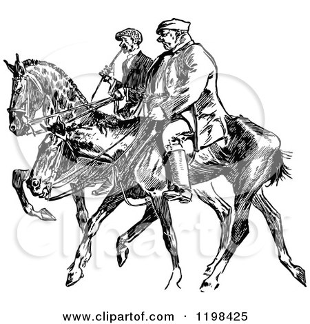 Clipart of Black and White Vintage Men on Horses - Royalty Free Vector Illustration by Prawny Vintage