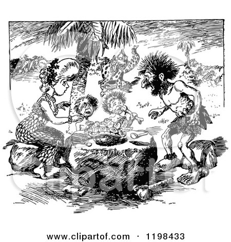 Clipart Of A Black And White Vintage Caveman Family Eating