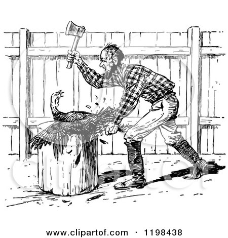 Clipart of a Black and White Vintage Farmer Slaughtering a Turkey Bird - Royalty Free Vector Illustration by Prawny Vintage