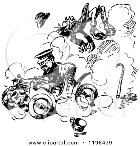 Clipart of a Vintage Black and White Boy and Car Accident in a ...