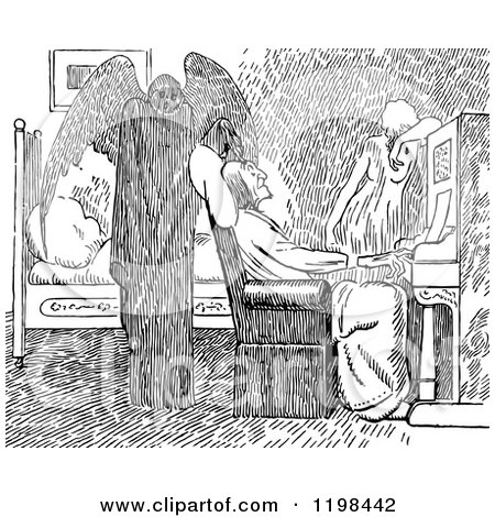 Black and White Vintage Old Man Playing a Piano, Woman and Death Posters, Art Prints