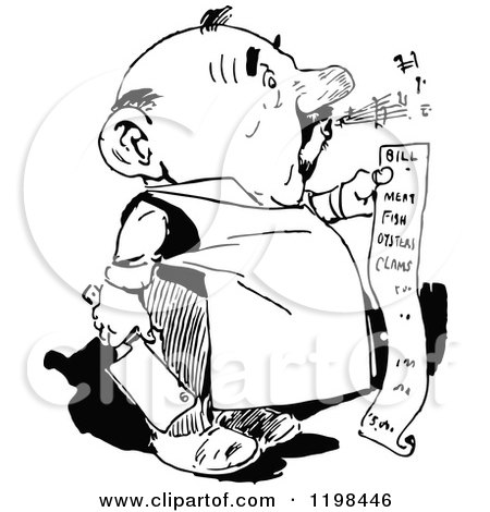 Clipart of a Black and White Vintage Whistling Butcher Man Holding a Bill - Royalty Free Vector Illustration by Prawny Vintage