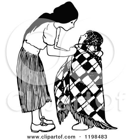 Clipart of a Black and White Vintage Caring Girl Bundling Her Sibling - Royalty Free Vector Illustration by Prawny Vintage