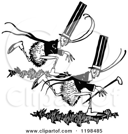 Clipart of Black and White Vintage Running Gentleman Ants - Royalty Free Vector Illustration by Prawny Vintage