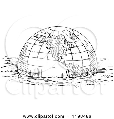 Clipart of a Black and White Vintage Floating Globe - Royalty Free Vector Illustration by Prawny Vintage