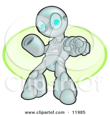 Human Like Robot Pointing And Warning Clipart Illustration