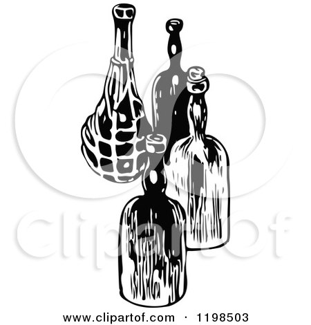 Black And White Vintage Wine Bottles
