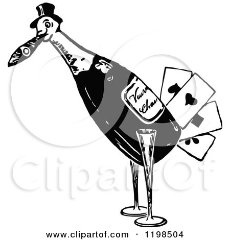 Clipart of a Black and White Vintage Bird Playing Card Wine Bottle - Royalty Free Vector Illustration by Prawny Vintage