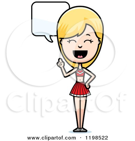 Cartoon of a Happy Blond Cheerleader Talking - Royalty Free Vector Clipart by Cory Thoman