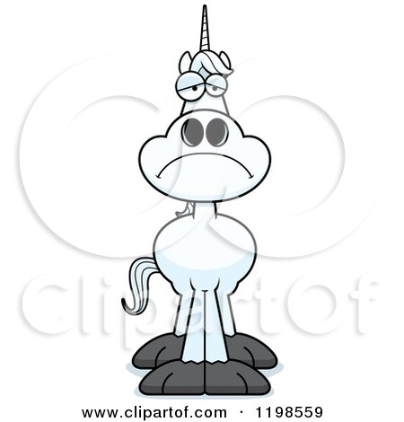 Cartoon of a Depressed Unicorn - Royalty Free Vector Clipart by Cory Thoman
