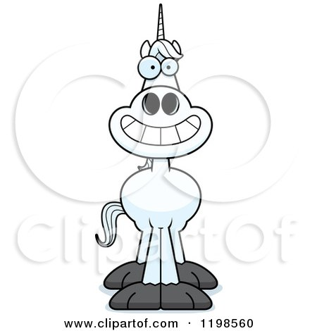 Cartoon of a Grinning Unicorn - Royalty Free Vector Clipart by Cory Thoman