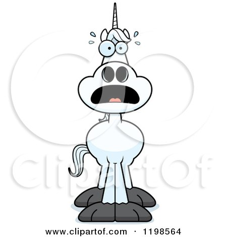 Cartoon Of A Black And White Scared Horse Royalty Free