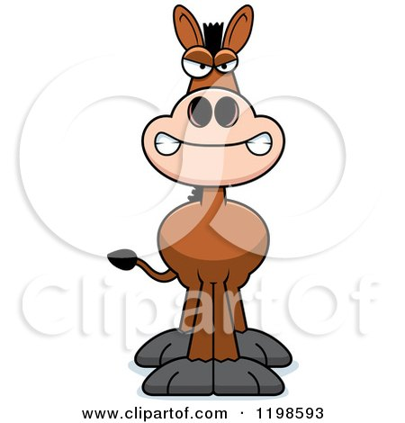 Cartoon of a Mad Donkey - Royalty Free Vector Clipart by Cory Thoman