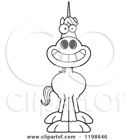 Cartoon of a Black And White Grinning Unicorn - Royalty Free Vector Clipart by Cory Thoman