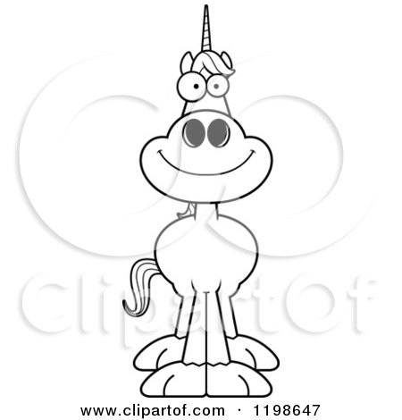 Cartoon of a Black And White Happy Smiling Unicorn - Royalty Free Vector Clipart by Cory Thoman