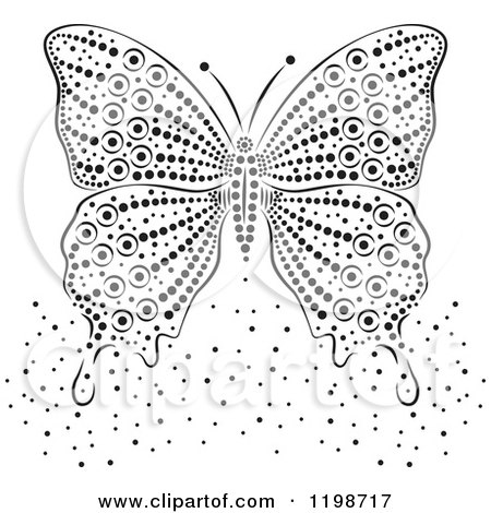 Clipart of a Black and White Butterfly and Dots - Royalty Free Vector Illustration by Cherie Reve