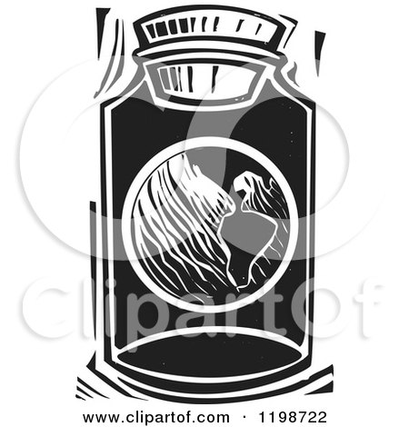 Clipart of a Globe Planet Earth in a Jar Black and White Woodcut - Royalty Free Vector Illustration by xunantunich