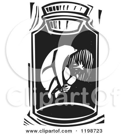Clipart of a Scared Girl in a Jar Black and White Woodcut - Royalty Free Vector Illustration by xunantunich
