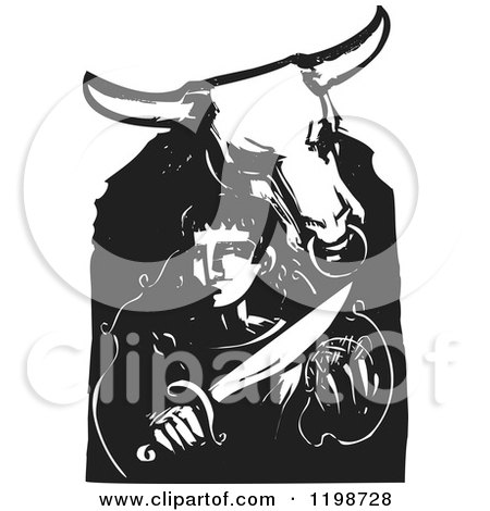 Clipart of a Minotaur and Theseus Black and White Woodcut - Royalty Free Vector Illustration by xunantunich