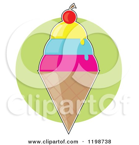 Cartoon of a Cherry Topped Triple Scoop Waffle Ice Cream Cone over a Green Circle - Royalty Free Vector Clipart by Maria Bell