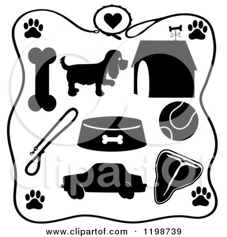 Clipart of a Black and White Leash Frame Around Silhouetted Dog Items - Royalty Free Vector Illustration by Maria Bell