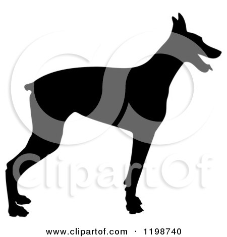 Clipart of a Black Silhouetted Doberman Pinscher Dog in Profile - Royalty Free Vector Illustration by Maria Bell