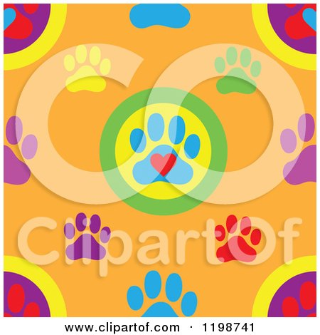 Cartoon of a Seamless Pattern of Colorful Dog Paw Prints and Hearts over Orange - Royalty Free Vector Clipart by Maria Bell
