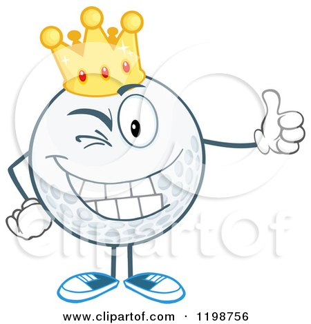 Cartoon of a Winking Crowned Golf Ball Character Holding a Thumb up - Royalty Free Vector Clipart by Hit Toon