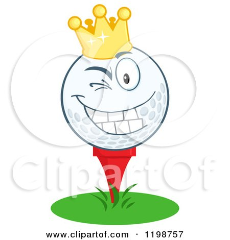 Cartoon of a Winking Crowned Golf Ball Character on a Tee - Royalty Free Vector Clipart by Hit Toon