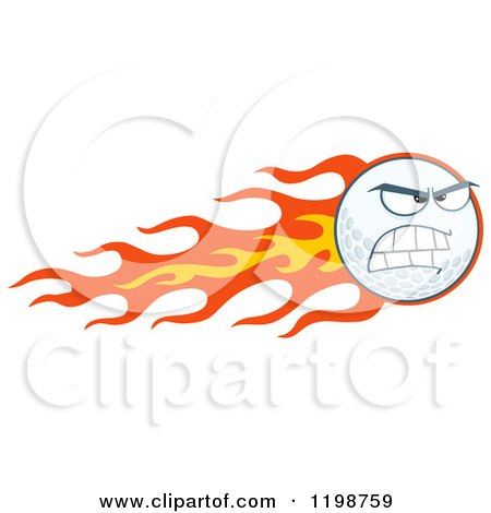 Cartoon of a Flaming Mad Golf Ball Character - Royalty Free Vector Clipart by Hit Toon