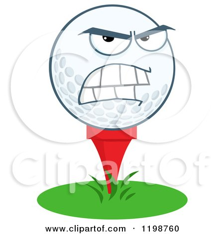 Cartoon of a Mad Golf Ball Character on a Tee - Royalty Free Vector Clipart by Hit Toon