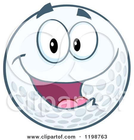 Cartoon of a Happy Golf Ball Character - Royalty Free Vector Clipart by Hit Toon