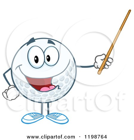 Cartoon of a Happy Golf Ball Character Holding a Pointer Stick - Royalty Free Vector Clipart by Hit Toon